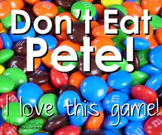Don't Eat Pete! (Fun Party Game) - Don't Eat Pete! (Fun Party Game) This game is one of my favorite games ever. It's killer easy and it's way fun. You can use candy (M&Ms are my favorite) or any other type of marker (I've used Cheerios, Goldfi… Group Games For Kids, Easy Games For Kids, Kids Church Games, Fun Games For Adults, Games To Play With Kids, Adult Games, Parlor Games For Adults, Games For Tweens, Games For Large Groups