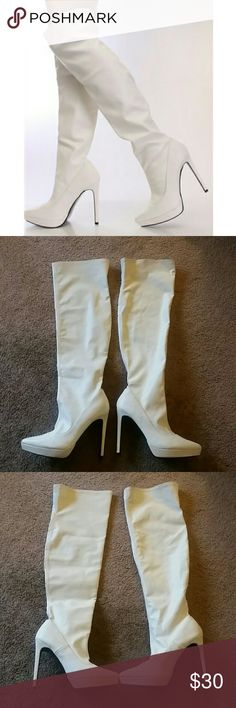 "White Thigh High Heel Boots Alba Grace-01 white boots. Features a faux leather upper in a slip on design, pointed closed toe, stitched detailing, smooth lining, and cushioned footbed. Approximately 5.25"" heel, 1"" platform, 14.5"" circumference, and 19.5"" shaft. A few dirt marks since these are white but they just need to be cleaned, still good condition. Alba Shoes Over the Knee Boots"