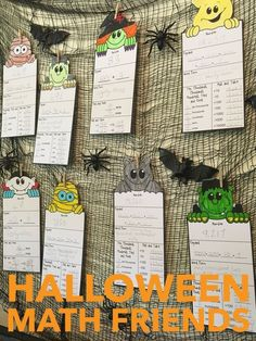 Halloween Math Activities: Halloween Place Value and Number Friends Fun Math Activities, Math Games, Halloween Math, Halloween Ideas, Second Grade Math, Grade 2, Fourth Grade, Maths Display, Math Crafts