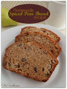 This Homemade Spiced Pear Bread Recipe! You can double the recipe to freeze additional loaves and/or share them with neighbors.