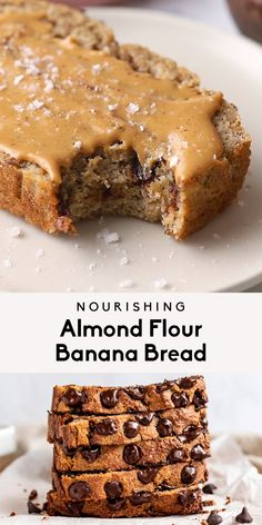 Simple one bowl almond flour banana bread packed with nourishing ingredients and sweetened only with bananas. This gluten free, grain free, dairy free and paleo banana bread will be your new favorite Banana Bread Almond Flour, Gluten Free Banana Bread, Chocolate Banana Bread, Banana Bread Recipes, Gluten Free Baking, Gluten Free Recipes, Chocolate Chips, Keto Bread, Chocolate Cake