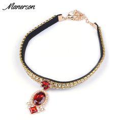 2016 Boho Black Velvet Choker Necklace Pendant Torques Burlesque Red Gem Gold Crystal Collar Women Collier Femme Gothic Jewelry
