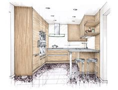 Koor Color - marker rendering - kitchen wood