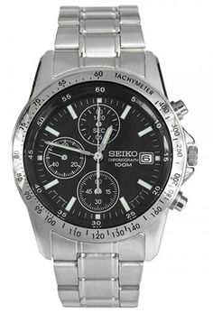 Seiko Men's Black Chronograph Dial Stainless Steel Band Watch SND367