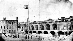 Fort Sumter, South Carolina, April, 1861, under the Confederate flag. The first shots of the Civil War took place here, on April 12, 1861