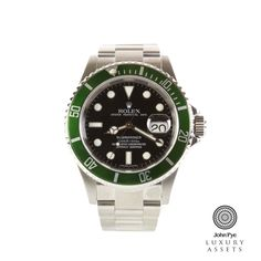 Rolex Submariner Stainless Steel Automatic Watch with a Green Bezel Insert, Black Colour Dial and a Stainless Steel Oyster Bracelet