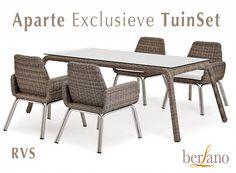 Aparte Tuinstoel exclusieve design Tuintafell en Tuinset. Royale ruime tuinstoelen RVS met riet bruin-tinten en witte zitkussen. #Aparte #Tuinmeubelen online kopen bij Berlano.nl