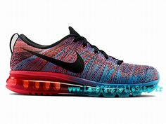 Boutique Nike Flyknit Air Max 2014 - Chaussure de Running Pas Cher (taille Homme) Rouge/Bleu