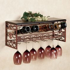 bar stemware racks | Vicenza Metal Wine and Stemware Wall Rack