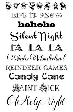 Christmas Fonts @ http://designeditor.typepad.com/design_editor/2011/12/font-friday-free-christmas-fonts.html