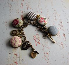 fabric button charm bracelet handmade vintage mod by studio346, $18.00