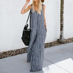17946384512 Summer Women Sexy Deep V Neck Striped Jumpsuits Sleeveless Overalls Rompers  Casual Loose Work OL Wide Leg Pants 5XL