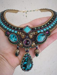 Exclusive gorgeous necklace in blue  colours. Fits for evening apparel. elegant…