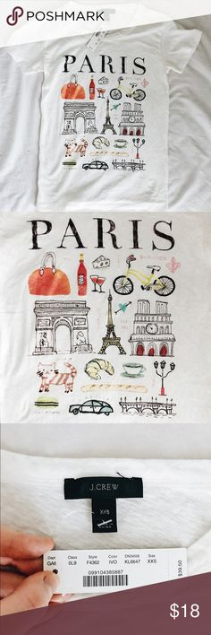 NWT J. Crew Paris Destination Art Graphic Tee *CONSIDERING OFFERS! No trades.* Brand new with tags ADORABLE graphic t-shirt from J. Crew retail! (Not Factory.) Features gorgeous handmade illustrations and super soft material. I was so obsessed with this top that I bought it even though it was 2-3 sizes too small for me (I usually like a S or M in t-shirts) and though it does fit as an extremely tight tee, I just can't see myself wearing it. I'd recommend it for XS or XXS (or S if you want it…