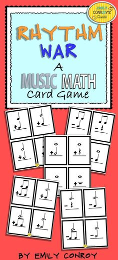 Music Math contains 64 addition and subtraction music math cards for independent review or use in the game rhythm war. Rhythm war is a card game played in teams of 2-3 where students solve equations on various cards by adding or subtracting note values. Students collect cards based on who has the highest value and try to get the most by the end of the game!