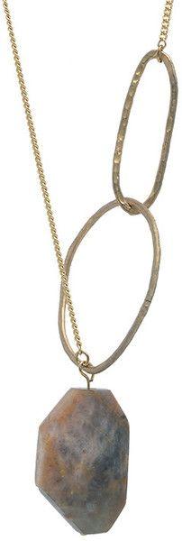 D.u.s.k Gold Marbled Brown Pink Moonstone Necklace