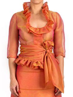 Modelo: Casaco laranja organza de seda Cor: Laranja