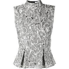 Erdem Erdem 'Hilda' Top ($1,075) ❤ liked on Polyvore featuring tops, shirts, blusas, grey, mock neck top, embroidered top, sleeveless peplum top, grey peplum top and gray shirt