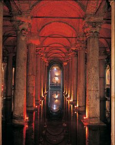 """The Basilica Cistern - (Turkish: Yerebatan Sarayı - """"Sunken Palace"""", or Yerebatan Sarnıcı - """"Sunken Cistern""""), is the largest of several hundred ancient cisterns that lie beneath the city of Istanbul, Turkey. The cistern, located 500 feet (150 m) southwest of the Hagia Sophia on the historical peninsula of Sarayburnu, was built in the 6th century during the reign of Byzantine Emperor Justinian I. http://en.wikipedia.org/wiki/Basilica_Cistern"""
