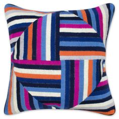 Jonathan Adler Pink And Blue Bargello Windmill Pillow in All Pillows And Throws