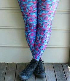 Pink and blue blackmilk blocked legs