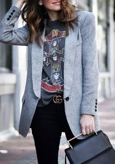 nice combination of the grey blazer   printed top to wear to the office