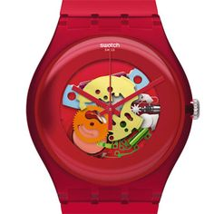 Red Multi Swatch Watch