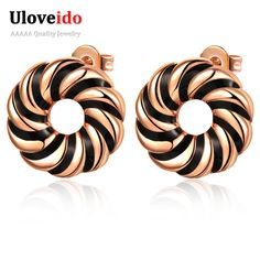 Find More Stud Earrings Information about Uloveido Punk Black/White Enamel Round Vintage Earrings Rose Gold Plated brincos de prata Silver Stud Earring Party Jewelry R338,High Quality brincos de prata,China brincos de Suppliers, Cheap brincos fashion from ULOVE Fashion Jewelry Official Store on Aliexpress.com