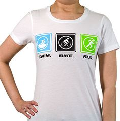 Is triathlon your sport of choice? Show it off with our Swim Bike Run (blocks) tee, featuring artwork that shows a swimmer, biker, and runner in three blocks. Each light weight, heathered shirt features a slim, womans cut, and cap sleeves.