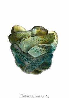 Daum Crystal Snake Vase Green & Grey - Limited Edition of 888