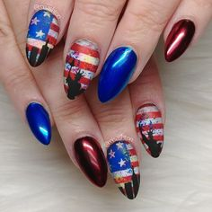 4th of July Nails. Statue of Liberty Nails. Grunge Nail Art. American Flag Nails by MisAshton