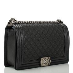 Chanel Quilted Boy Bag New Medium in Black Caviar with Ruthenium Hardware