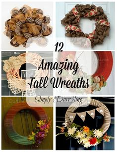 12 Fall Wreaths that are perfect for your front door. So many great crafty ideas.