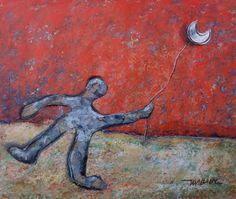 """Le ballon-lune"" / ""Moon balloon"" Mixtmedia on paper backed on wood 32x28 cm…"