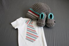 Boy set Tie onesie crochet loafers and by CheekyBabyBoutique