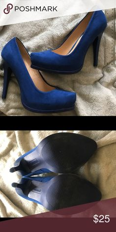 Blue high heels Mexican brand Andrea heels. Heel is roughly 4 inches, platform is about a inch. Worn once. Shoes Heels