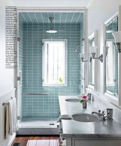 """house beautiful feb 2012... love style shower shape. not so much with the window in the shower. narrow need to include """"Throne Room"""" and closets and my vanity bar."""
