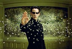 """Neo stopping bullets in """"The Matrix."""" When I talk about a glitch in the matrix… Keanu Reeves, The Matrix Movie, Glitch In The Matrix, Keanu Matrix, Hollywood, Matrix Reloaded, Cinema Tv, Bon Film, Virtual Reality"""