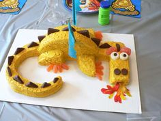 How to Make a Fire Breathing Dragon Cake. Want to make a fun, themed birthday cake yourself? With two ordinary round cakes, frosting, and a few other easy-to-find sweets, you can create an intricate dragon cake with or without. Dragon Birthday Cakes, Dragon Birthday Parties, Dragon Cakes, Dragon Party, Birthday Fun, Birthday Desserts, Cake Birthday, Dragon Ball, Cake Pops