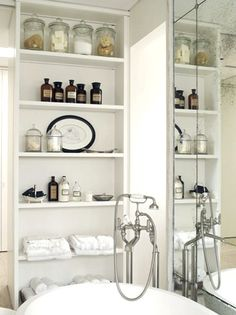 white bath | great storage with apothecary jars