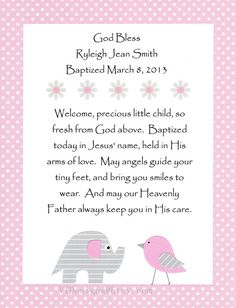 Baby Girls Baptism Gift, Christening Gift, Pink Gray Nursery Art, Personalized Kids Wall Art, God Bless this Child, 8x10 Print via Etsy