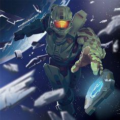 Master Chief Halo Poster by Anna Maria Bryant Kitti_Minx Master Chief And Cortana, Halo Master Chief, Halo Reach, Halo Lego Sets, Halo Poster, Cortana Halo, Godzilla, Gundam, Transformers