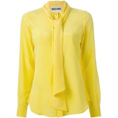 bb60688d82c109 Yellow silk pussybow blouse from Moschino featuring a concealed front  fastening