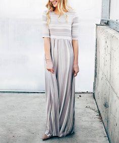 Look what I found on #zulily! Taupe Stripe Maxi Dress #zulilyfinds