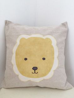 lion cushion cover yellow and white / throw pillow by chubbyABC
