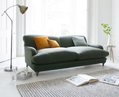 Loaf's perfectly risen Pudding sofa in Willow wool with Burnt Orange scatter cushions