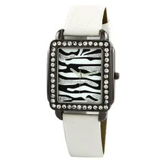 "Golden Classic Women's 2217_white ""Safari Dame"" Rectangle Rhinestone Leather Watch Golden Classic. $19.80. Silver rhinestone accented bezel. Highest Standard Quartz Movement. White synthetic crocodile printed leather strap with adjustable silver buckle. Zebra print dial; Silver minute and second hand. Water-resistant to 99 feet (30 M). Save 40%!"