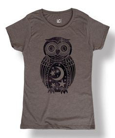 Another great find on #zulily! Charcoal Moon Owl Scoop Neck Tee #zulilyfinds