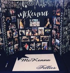 Senior trifold photo board display <br> Picture display board for senior photos, ideas for graduation party or senior night at the high school. Also can be used for any other events like birthdays, retirement parties, engagement parties, ect. Grad Party Decorations, Graduation Party Decor, Grad Parties, Retirement Parties, Graduation Ideas, Graduation Picture Boards, Graduation Pictures, Photo Display Board, Photo Displays