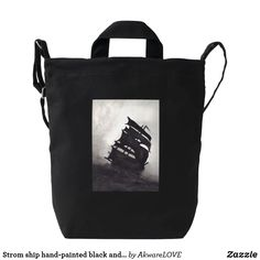 Strom ship hand-painted black and white